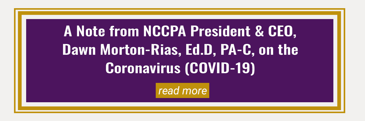 Note from NCCPA President/CEO on COVID-19